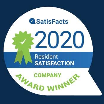 2020 Satisfacts Resident Satisfaction Award Winner